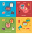 Four square composition banners with shopping vector image vector image