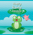 frog under lotus leaf for protect in the rain vector image