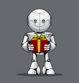 funny kid robot with a gift in hand vector image vector image