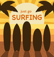 go surfing concept different surf boards vector image vector image