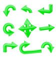 green 3d arrows different directions vector image vector image