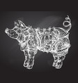 hand drawn steampunk pig vector image vector image