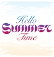 Handdrawn blue red and purple text HELLO SUMMER vector image