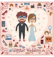 Hipster wedding card vector image vector image