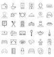 hotel lamp icons set outline style vector image vector image