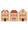 houses old european buildings with red roof flat vector image vector image