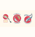 koi carp and red sun japanese fish badges set vector image vector image