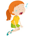 Little girl crying alone vector image