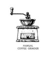 manual burr mill coffee grinder vector image vector image