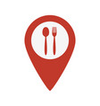 map marker location with fork and spoon vector image vector image