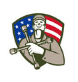 mechanic holding tire wrench usa flag shield retro vector image vector image