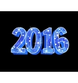Number 2016 formed by glowing blue squares vector image vector image