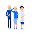 nurse and patient elderly people man and woman vector image vector image