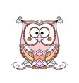 ornamental colorful owl isolated on white vector image