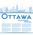 Outline Ottawa Skyline with Blue Buildings vector image