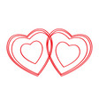 pair of heart shapes vector image