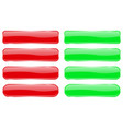 red and green glass buttons shiny rectangle 3d vector image vector image