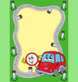 road frame with cute car vector image