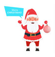 santa holding christmas tree decoration vector image