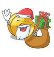 santa with gift cyamblas miniature in the cartoon vector image