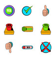 select button icons set cartoon style vector image vector image