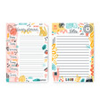 set colorful doodle weekly planner and notes vector image