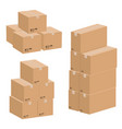 set of cardboard boxes isolated on white vector image vector image