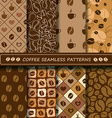 Set of coffee seamless pattern vector image vector image