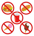 set prohibited signs supermarket symbols no junk vector image