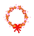 Valentine Wreath of Orange Maple Leaves and Hearts vector image vector image