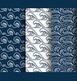 water sea wave seamless pattern set vector image vector image