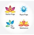 Yoga signs set hatha aqua fly meditation vector image
