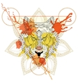 Zentangle stylized Tiger in triangle frame with vector image
