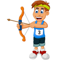 funny boy cartoon sports archery vector image
