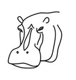 animal hippo icon design clip art line icon vector image