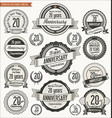 anniversary retro badges collection 20 years vector image vector image