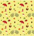 autumn flat pattern with bike vector image