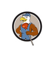 Bald Eagle Plumber Plunger Circle Cartoon vector image vector image