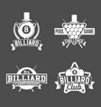 billiards emblems labels and designed elements vector image vector image