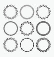 black silhouette circle leaves emblems set vector image