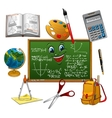 Blackboard cartoon character with school supplies vector image vector image