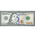 cartoon one hundred dollars vector image vector image
