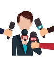 character microphone interview graphic vector image