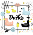 childish design with cute ducks baby background vector image vector image