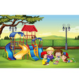 Children reading in the park vector image vector image