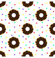 chocolate donuts and colorful sprinkles vector image vector image