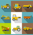 construction machinery icons set flat style vector image vector image