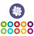 coronavirus icons set color vector image