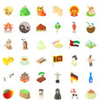 culture of food icons set cartoon style vector image