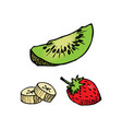 cut kiwi strawberry and bananas fruit piece vector image